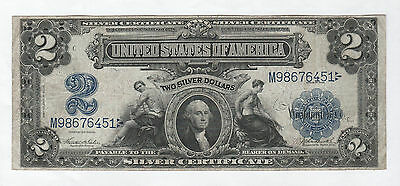 Circulated 1899 $2 Silver Certificate--Teehee/Burke, Free Insured Shipping