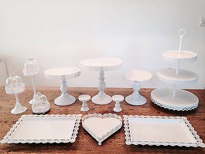 Set of 12 Pieces White Cake Stand Cupcake Wedding Dessert Candy Bar
