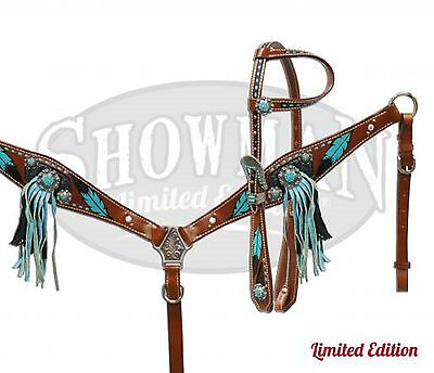 Painted Turquoise Feather Western Leather Bridle & Breast Collar New Horse Tack
