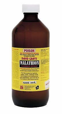 David Grays Malathion Garden Spray 500ml Aphids Scale Cabbage Moth Fruit Fly