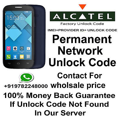 AT&T USA  UNLOCK CODE FOR  Alcatel Ideal 4G  imei starts 01480200 supported