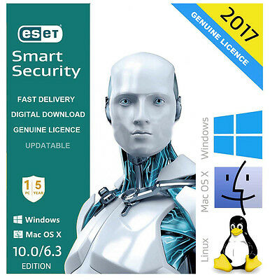 GENUINE ESET Smart Security 2017 V10.0 Antivirus 1 USER/PC 5 Year Subscription