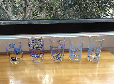 Retro/Vintage blue glasses (x5) with various cute patterns