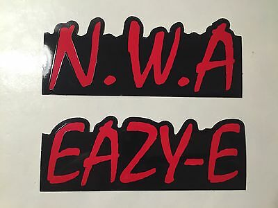 Lot Of 2 N.W.A. Eazy-E Promo Only Foil Logo Stickers Straight Outta Compton NWA