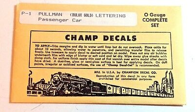 O Scale Decals -  Champ # P-1 Pullman Passenger Car (Dulux Lettering)
