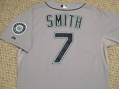Seth Smith SZ 46 #7 2015 Seattle Mariners GAME USED jersey Road Gray MLB holo