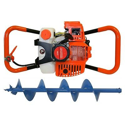 Post Hole Digger 62cc Petrol + 200mm Earth Auger Drill Bit Fence Borer Posthole