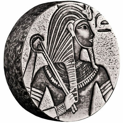 2016 5oz Republic of Chad Egyptian Relic Series King Tut Silver Coin Antiqued BU