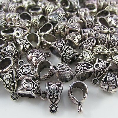 Pendant Bail Finding Clasp Antique Silver Finish DIY Necklace Pack of 100 pieces