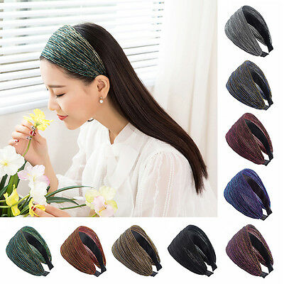 Shiny Women Wide Pleated Hair Band Hoop Headband Hair Accessories