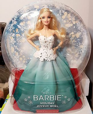 Barbie Doll Collector 2016 Holiday French  Joyeux Noel INTL Aqua Ombre Skirt