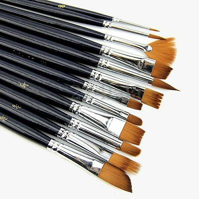 12Pcs/Set Artist Paint Brush Nylon Hair Watercolor Acrylic Oil Painting Supplies