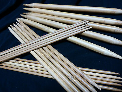 Set 5 Double Pointed 20 cm Bamboo Knitting Needles Circular Garments 2 mm-10 mm