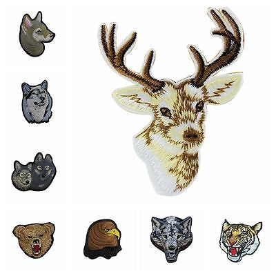 Animal Head Iron on Patches Embroidered Bag Clothes Applique Wolf Tiger Reindeer