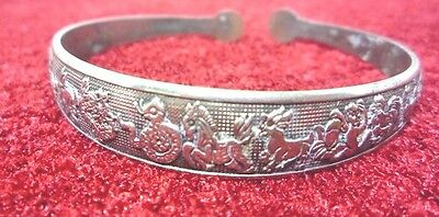 Bangle silver Carved 12 Zodiac Adjust Handwork Antique Old luckyCollection Rare.