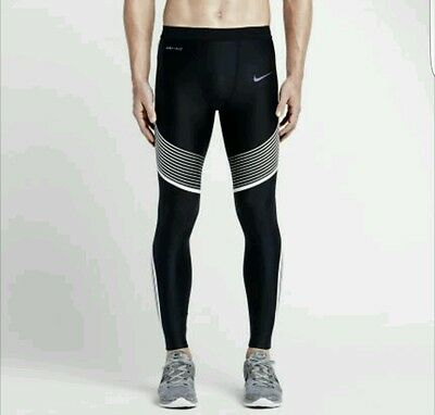 Nike Power Speed Running Tights - Black/White 717750-013 - L - New with tags