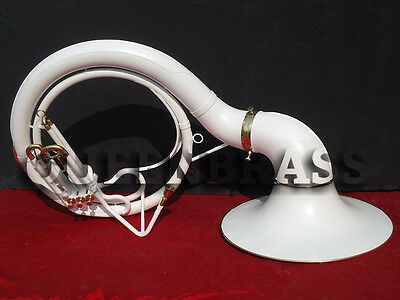 """New Wow Sousaphone Tuba_White Colored 25'' Bell_Bb Pitch """"w/bag&mp Brassitem"""