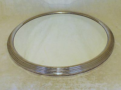 Original French Art Deco Chrome And Mirrored Glass Cocktail Tray Good Condition