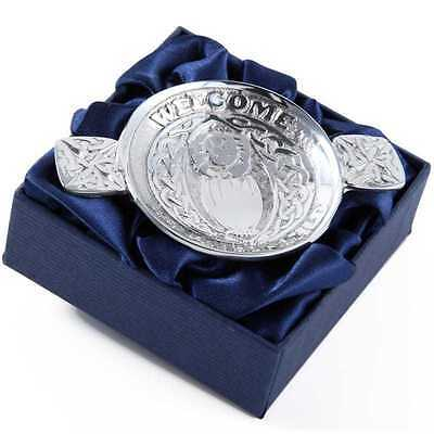 """Mini Traditional Scottish Pewter Toasting Quaich """" Welcome Beloved Child """""""