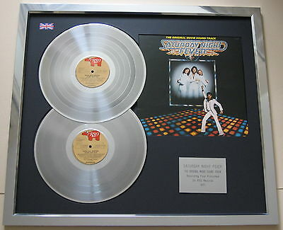 BEE GEES Saturday Night Fever PLATINUM DOUBLE LP Disc & Cover Presentation
