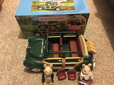 Sylvanian Families Green Family Car With 2 Figures Boxed