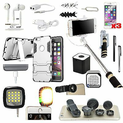 Case Cover+Fish Eye+Monopod+Bluetooth Speaker Accessory For iPhone 6 6S Plus