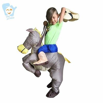 Inflatable Carry Me Ride On Horse Halloween Costume For Kids Fancy Party Dress