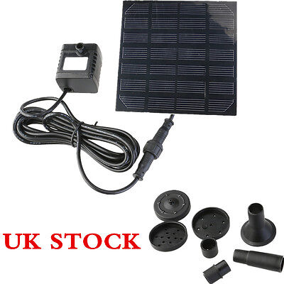 Solar Panel Power Submersible Fountain Pond Water Pump Kit Garden Pool Watering