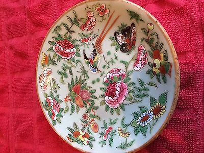 ANTIQUE 19th CENTURY CHINESE CELADON PLATE FAMILLE ROSE