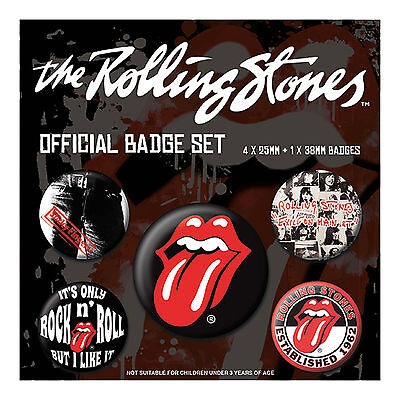 Rolling Stones Badge Pack Classic Tongue band Logo new Official 5 X Button