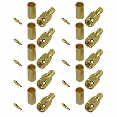 Pack of 10 RP SMA Male Crimp Connector - CLF200