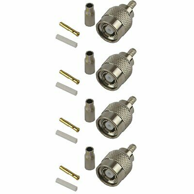 4 Pack RP TNC Male Crimp Connector - RG316/RG174