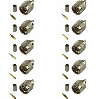 10 Pack of N-Type Male Crimp Connector - RG58/CLF200