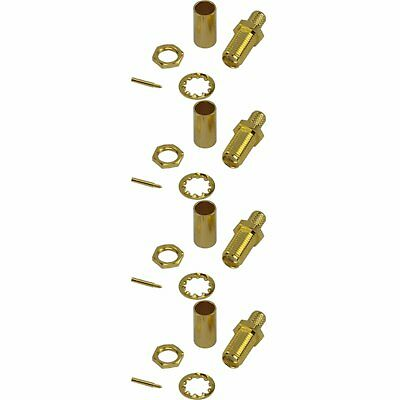 4 Pack of RP SMA Female Crimp Connector - RG58