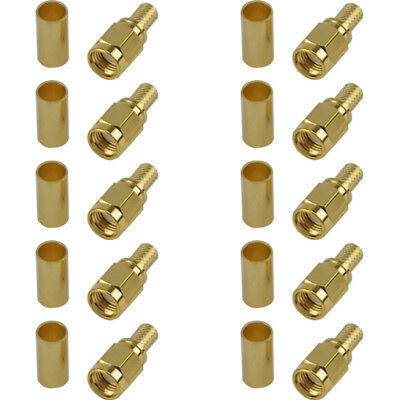 10 Pack of RP SMA Male Crimp Connector - RG58