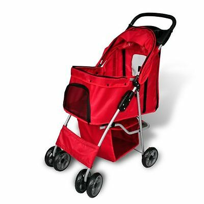 Dog Walk Stroller Red Pet Travel Carrier With Wheels Folding Cat Strollers Cart