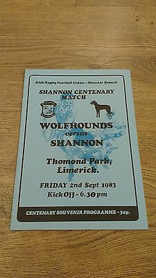 Shannon v Wolfhounds 1983 Centenary Match Rugby Union Programme