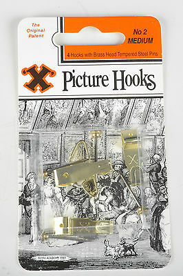 Picture hooks blister pack - Medium pack of 4 with pins  brass finish