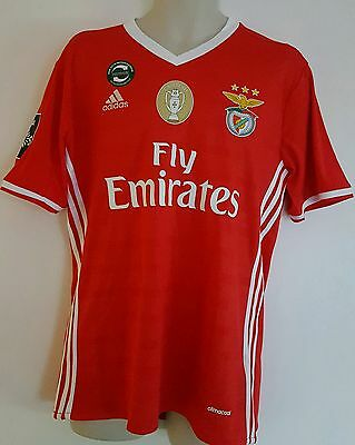 benfica football shirt jersey 2016/2017 home + champion badge  size M