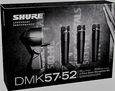 New Shure DMK57-52 Drum Microphone Mic Kit Full Warranty SM57s Beta 52A & Case