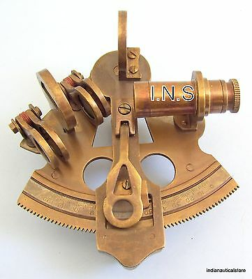 Antique vintage Navigation Working Nautical Brass Reproduction Sextant 3''