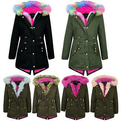 Kids Hooded Jacket Girls Fur Parka School Jackets Outwear Coat 5-13 Years