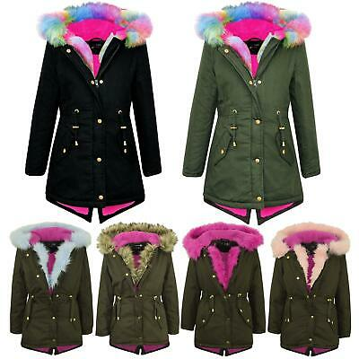 Kids Hooded Jacket Girls Rainbow Fur Parka School Jackets Outwear Coat 5-13 Year