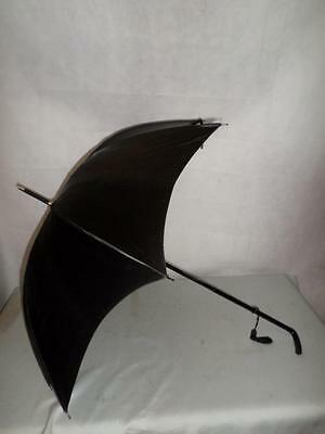 *vintage Ladies Petite Umbrella/parasol -Black Canopy And Carved Shaft/handle*