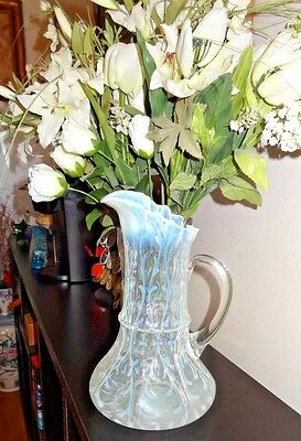 Northwood Antique C.1900 Large Pitcher With Ribbon Edge & Spanish Lace Eapg Rare