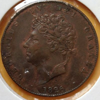George IV 1826 Half Penny Coin. 190 Year Old Coin, Very Collectable Coin
