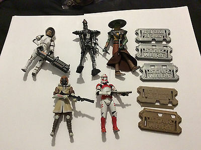 5 x Hasbro Star Wars Figures - with weapons and stands