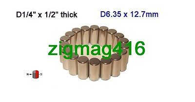 "12pcs of Grade N52, 1/4""dia x 1/2"" thick, Rare Earth Neodymium Cylinder Magnets"