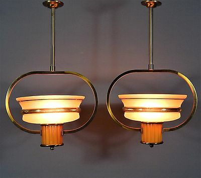 Pair Original Art Deco Light Fittings Glass Shades Phenolic Column Vintage 30's