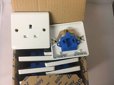 10 Ashley 13A Single Sockets Unswitched, Free Delivery